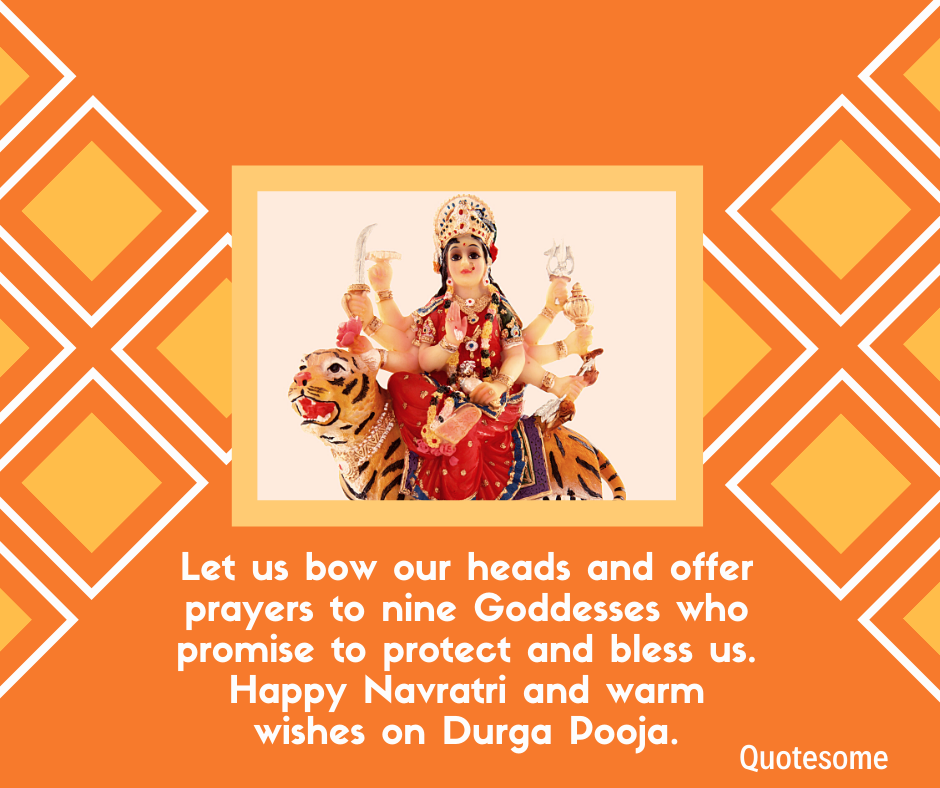 Let us bow our heads and offer prayers to nine Goddesses who promise to protect and bless us. Happy Navratri and warm wishes on Durga Pooja.